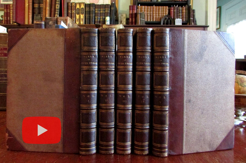 Peter Pindar Works Satire 1812 beautiful 5 vol. leather set w/ engraved portrait