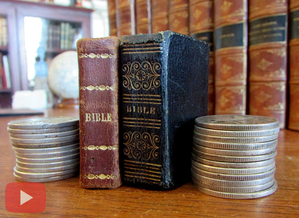 illustrated old 1822 & 1830 tiny miniature leather bound Bible History books