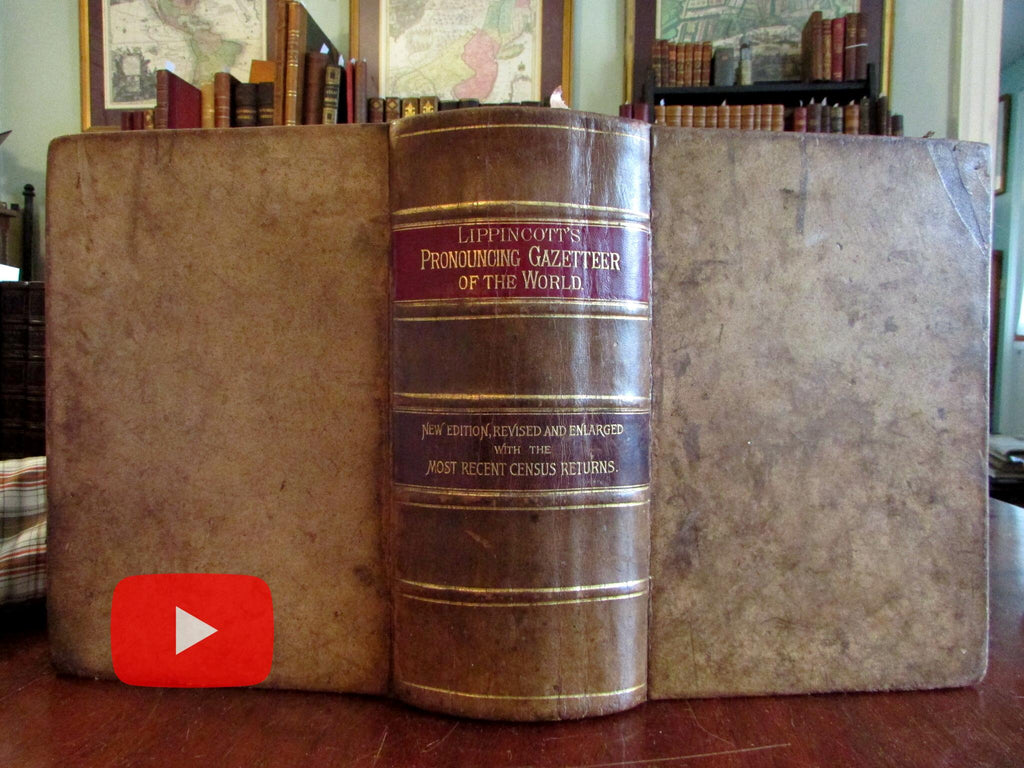 Lippincott Geographical Dictionary World 1889 nice monumental leather book