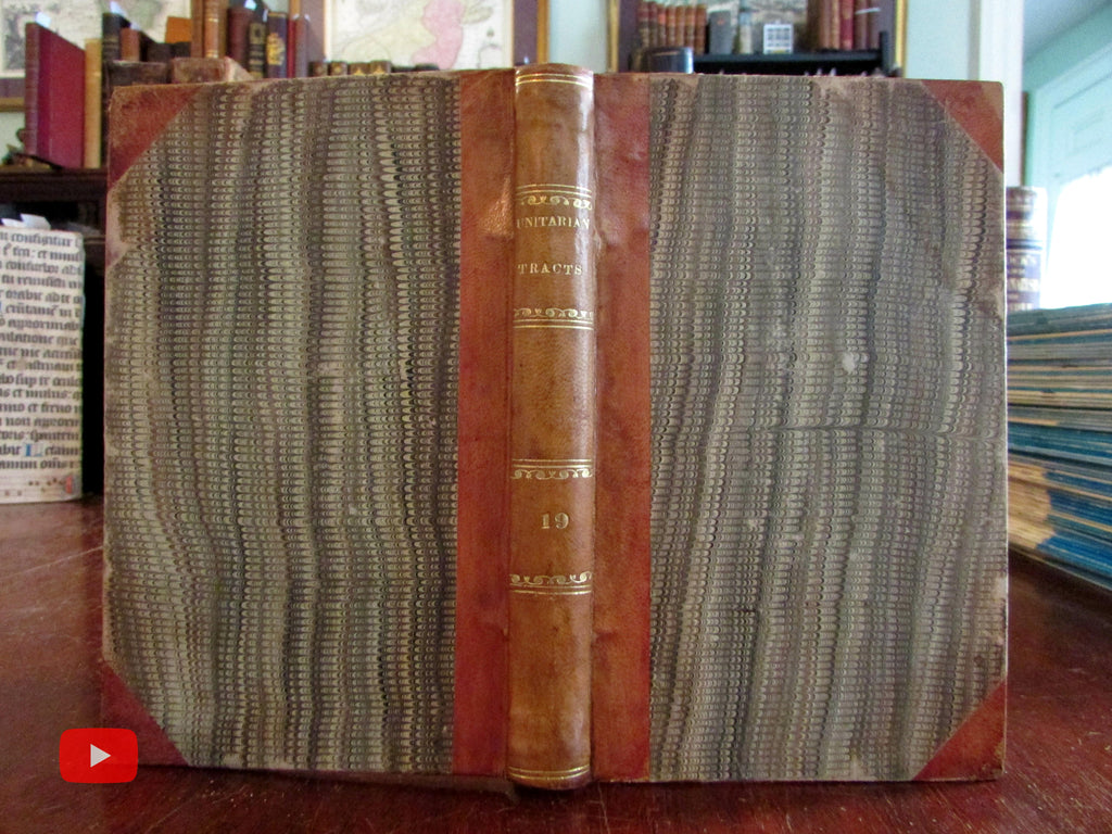 Unitarian Tracts 1846 American Christian religion leather book w/ 12 tracts