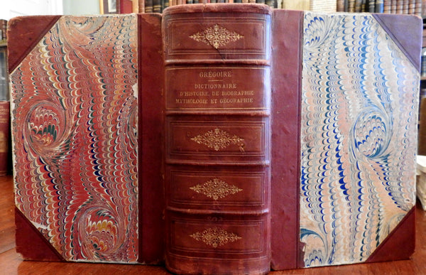 Dictionary History Mythology Geography Biography 1883 Gregoire huge leather book