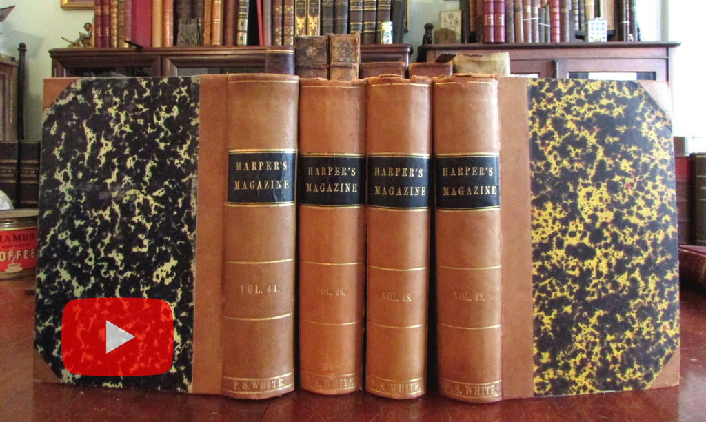 Illustrated American Periodicals 1871-1874 Harpers Magazine lot x 4 leather books