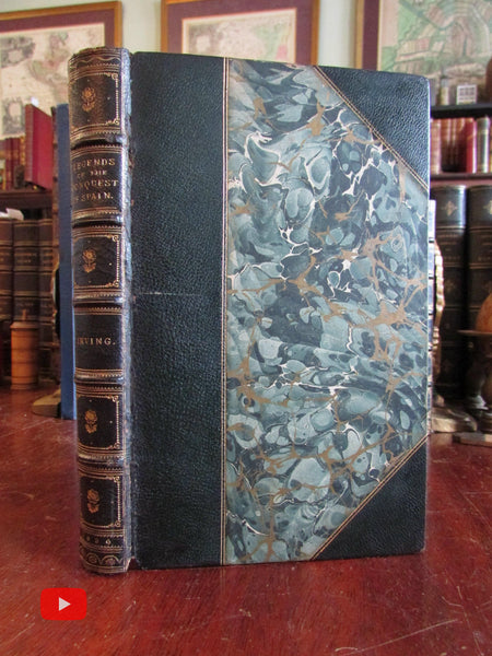 Spain Legends of Conquest 1836 Washington Irving beautiful leather book binding