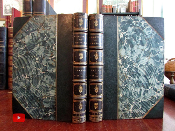 Conquest of Granada 1829 Washington Irving First English Edition fine leather set