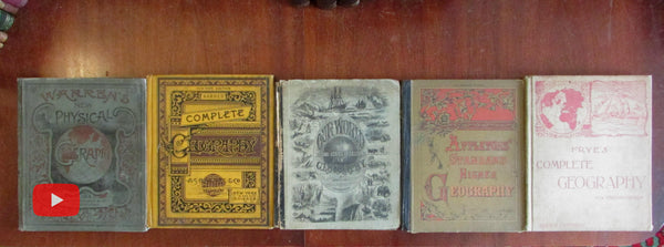World Geography maps views ethnography 1872-1895 group 5 illustrated books