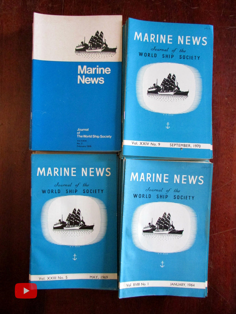 Marine News World Ship Society 1962-75 magazine lot x 84 issues illustrated