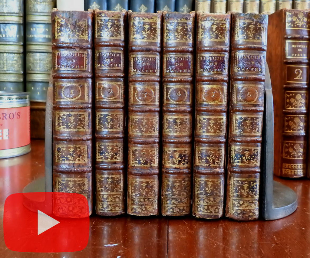 Knights of Malta 1772 Chevaliers de Rhodes Vertot lovely rare 6 vol. gilt leather set