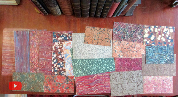 Marbled Paper 19th century lot of 20 attractive sheets c.1760-1890 all different