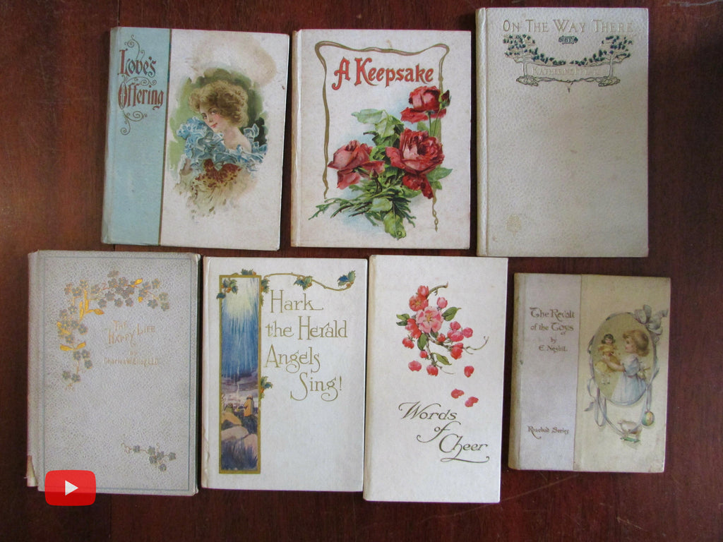 Colorful gift books c.1900-10 era lot of 7 poetry pictorial flowers keepsake cheer