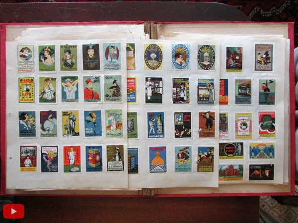 American Poster Stamp Collection c.1915 Wonderful lot 830 stamps Art Deco graphics