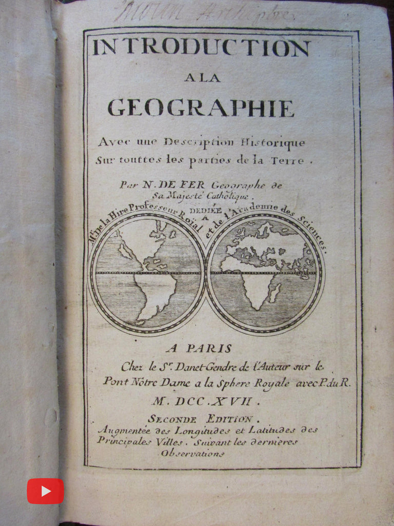 Geographical Gazetteer 1717 de Fer w/ 6 large decorative maps California as Island