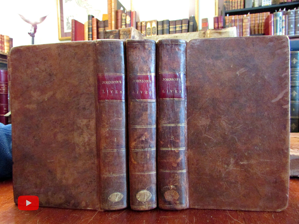 Samuel Johnson Lives of English Poets 1819 Philadelphia nice 3 vol. leather set