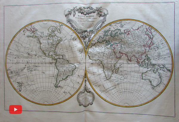 Vaugondy World Atlas c.1716-1812 Delamarche composite large folio w/ 32 maps
