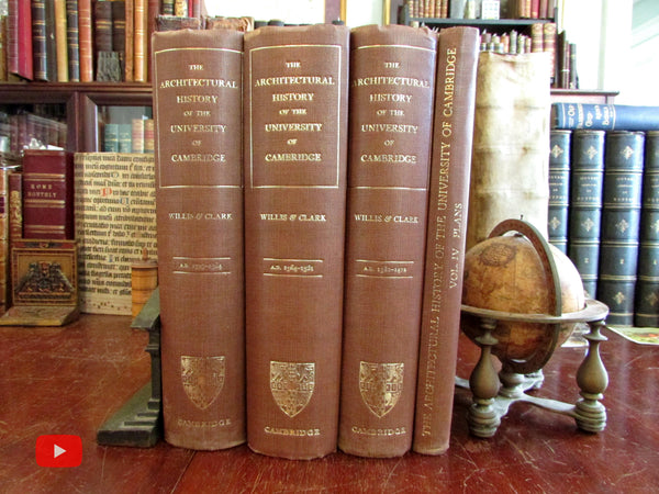 Cambridge Eton Colleges Architectural History 1886 Willis 4 vol. set illustrated