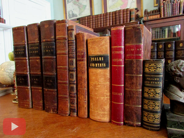 Religion Christianity 10 old books collection leather bound psalms hymns