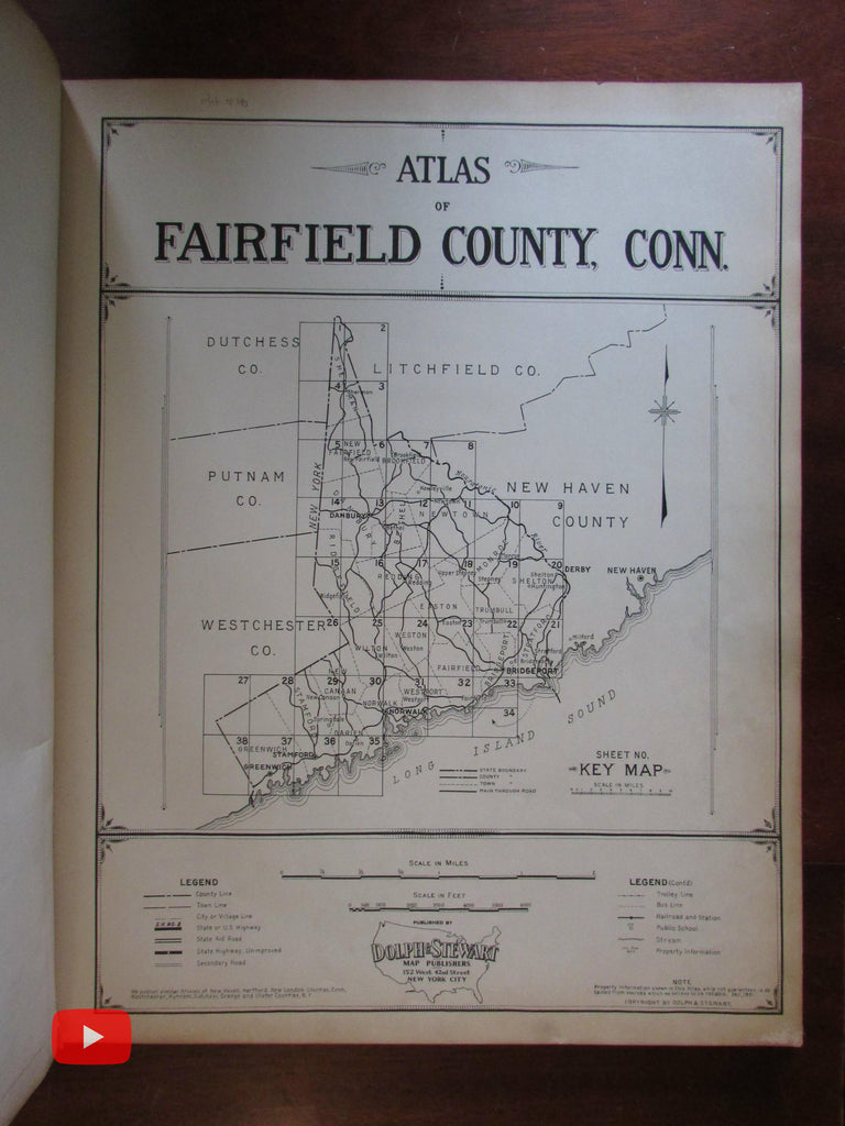 Fairfield Connecticut Atlas 1933 Dolph & Stewart 38 large detailed maps LI Sound