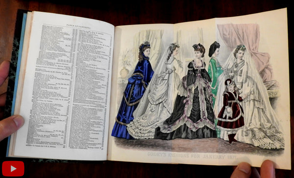 Godey's Lady's Book 1871 complete year 12 issues fashion plates leather book