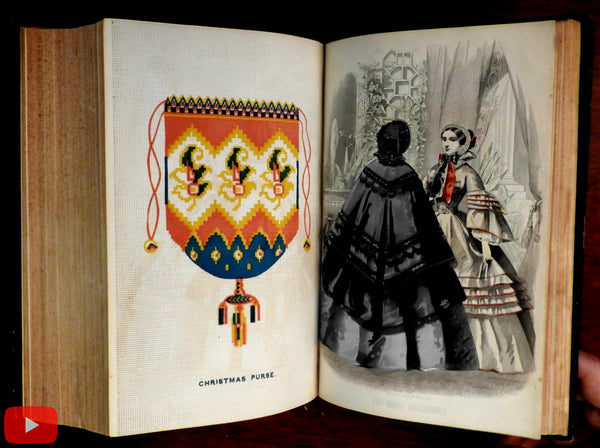 Peterson's Lady's Magazine 1859 Annual 12 Issues gilt leather book fashion plates