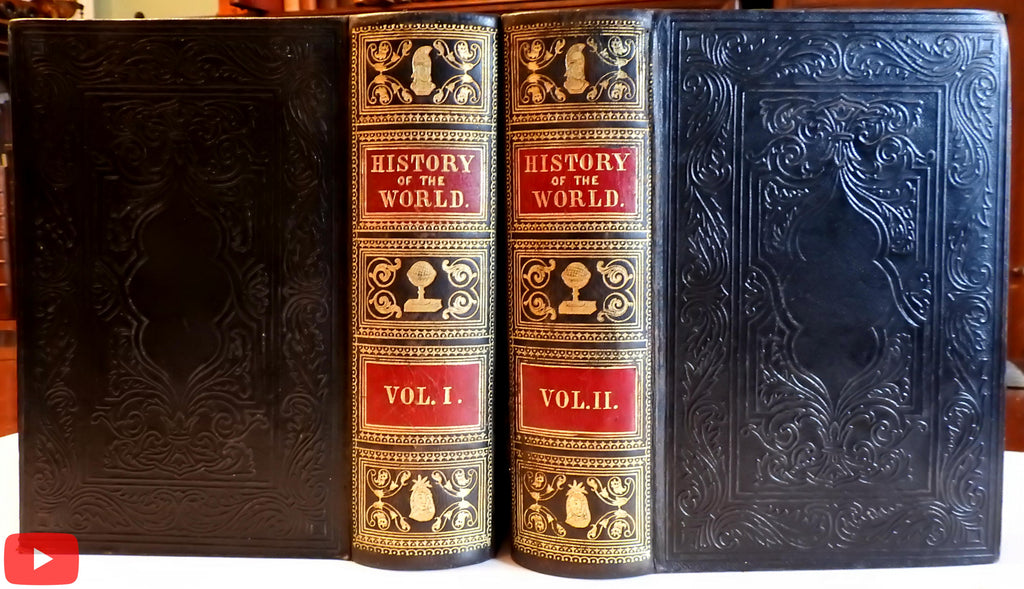 World History 1860 splendid monumental 2 vol. leather set 37 color plates flags views