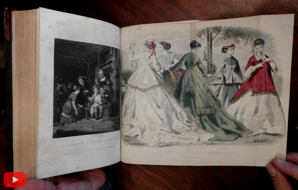 Peterson's Lady's Magazine 1856 bound annual w/ 12 issues fashion plates illustrated