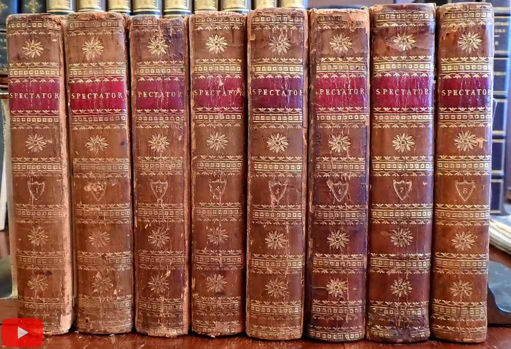 The Spectator 1803 Addison set 8 vols decorative leather w/ stipple portraits