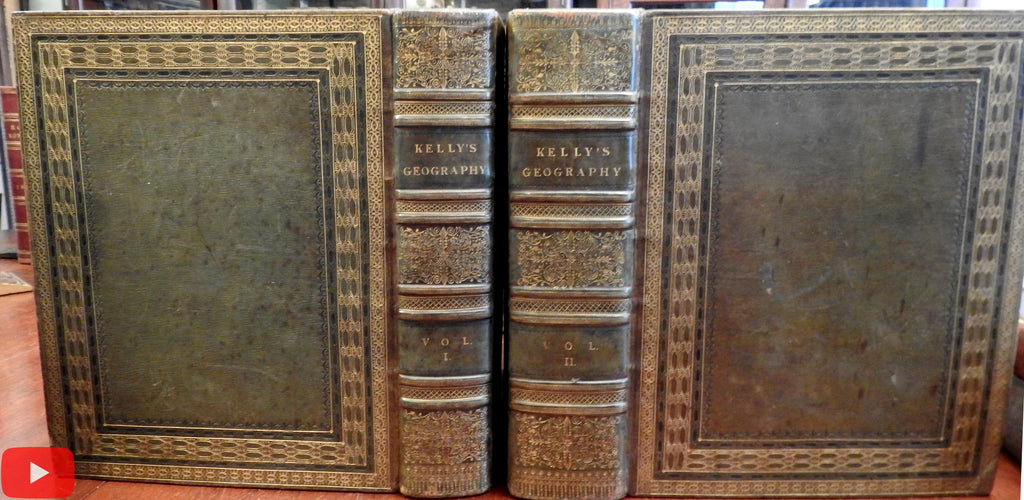World Atlas Geography Gazetteer 1815-17 Kelly 83 maps & plates views 2 vol. leather
