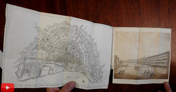 Amsterdam city guide with map & aquatint view 1827 Maaskamp rare French book