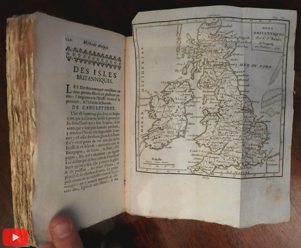 Geography geographical pocket atlas 1751 unique binding 17 Vaugondy world maps