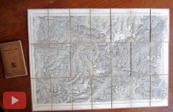 Switzerland 1850's Korber Dufour topographical old maps linen backed huge