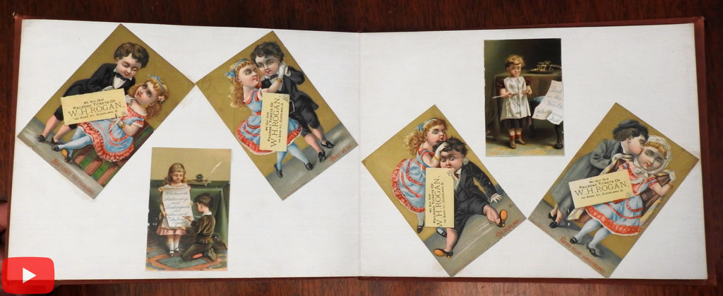 Victorian Child Trade Card Album c.1885 Special w/ 177 chromolitho color images