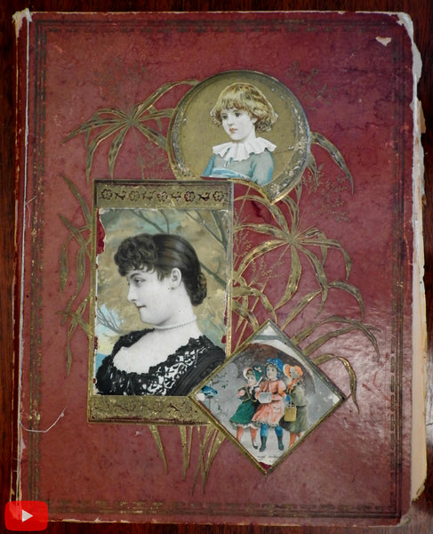 Scrapbook c.1880's with approx. 260 trade cards & colorful scraps unique fun