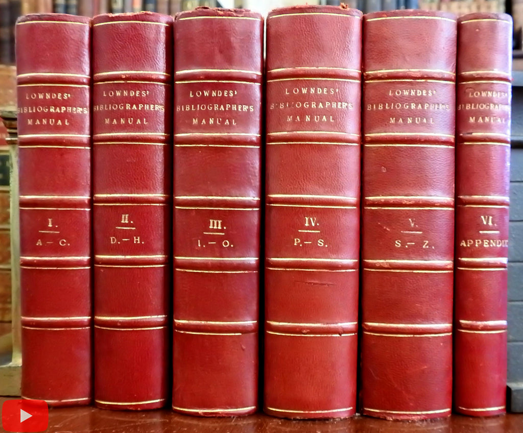 Lowndes' Bibliographer's Manual 1864 Bohn 6 volume leather set complete w/ Index