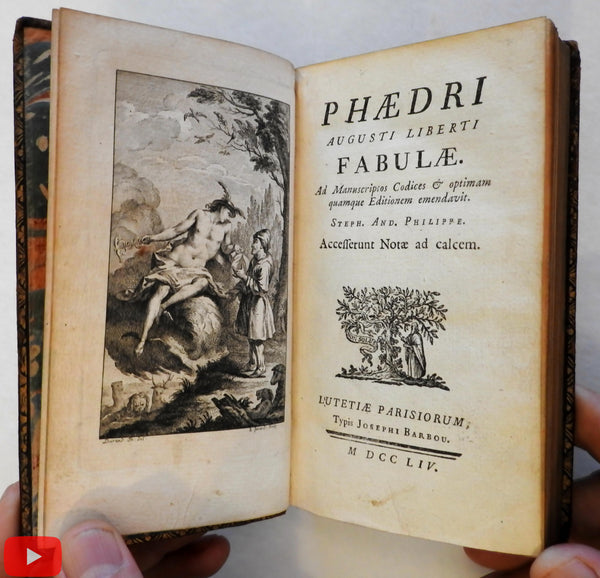Phaedrus Fables w/ engravings 1754 lovely French rare pocket book