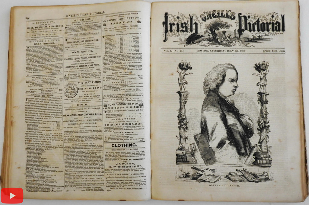 O'Neill's Irish Pictorial Newspaper 1859 Boston Mass. run of 37 illustrated issues