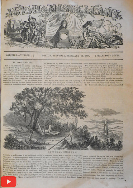 Ireland Irish Boston Miscellany Newspaper 1858 first 26 issues illustrated
