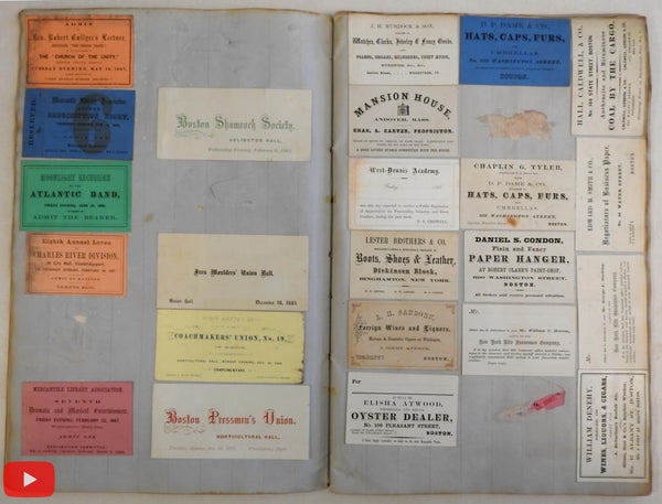 Scrapbook Album w/ 209 business & personal cards c.1860's New England