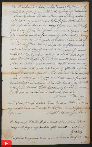 Nathaniel Adams 1802 Portsmouth NH Justice of Peace document Rockingham Law