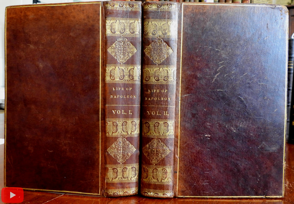 Life of Napoleon 1832 Exeter NH rare set 2 vols leather books w/ engraved portrait