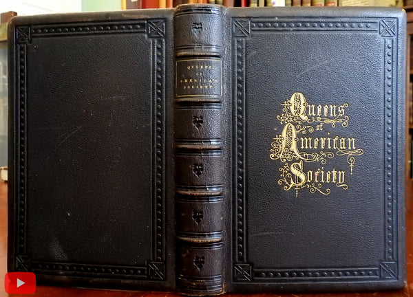 American Society Queens 1867 Ellet lovely gift leather book 13 portrait engravings