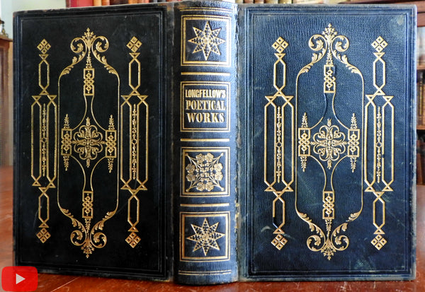 Longfellow Poetry 1847 Gorgeous American Gift leather book binding engravings