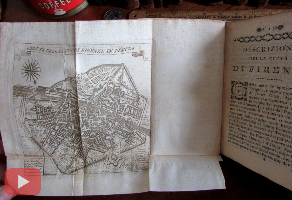 Florence Italy Firenze Italia 1793 city guide folding city plan map wonderful