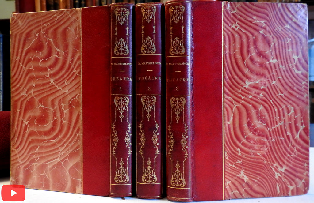 Maurice Maeterlinck Theatre 1908 lovely gilt leather 3 vol. set Belgium