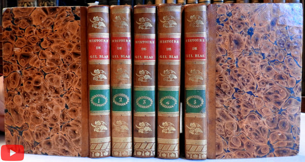 Gil Blas Histoire 1830 lovely small 5 vol. set French leather gilt books A+