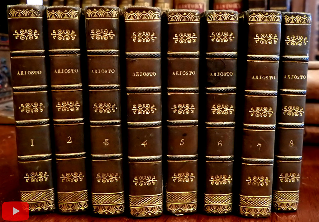 The Fury of Roland L' Orlando Furioso 1821 Ariosto 8 vol set near miniature