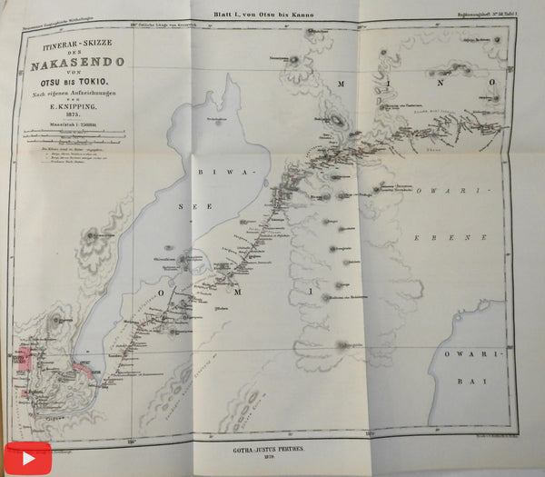 Japan 1880 Nakasendo route study D. Rein w/ 3 lg. folding color maps Petermann