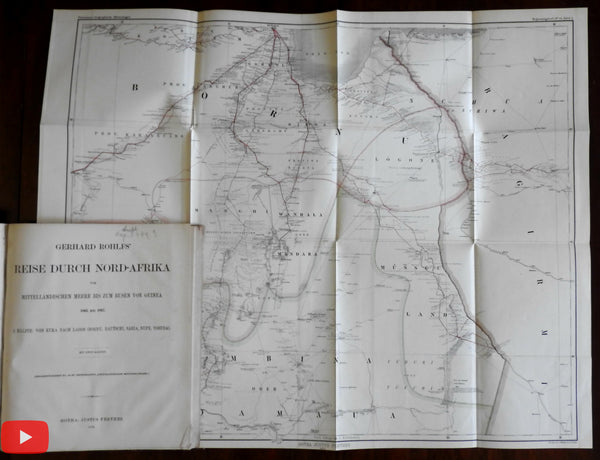 Australia 1871 huge 4-sheet wall map Petermann Rohlf's Travels North Africa Guinea