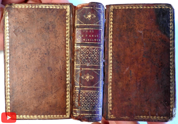 Paris France miniature views book c.1797 Saintin 35 engravings leather binding