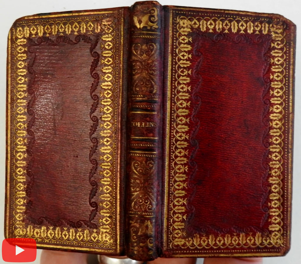 Miniature book 1824 Poetry Collins red gilt leather engraved portrait charming
