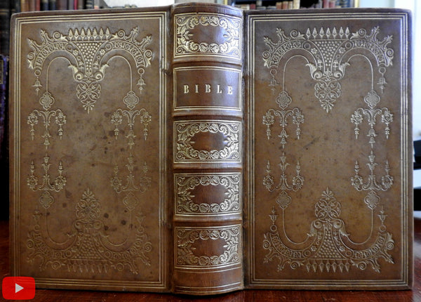 Bible 1843 American beautiful rare leather gift binding deluxe gilt decorations