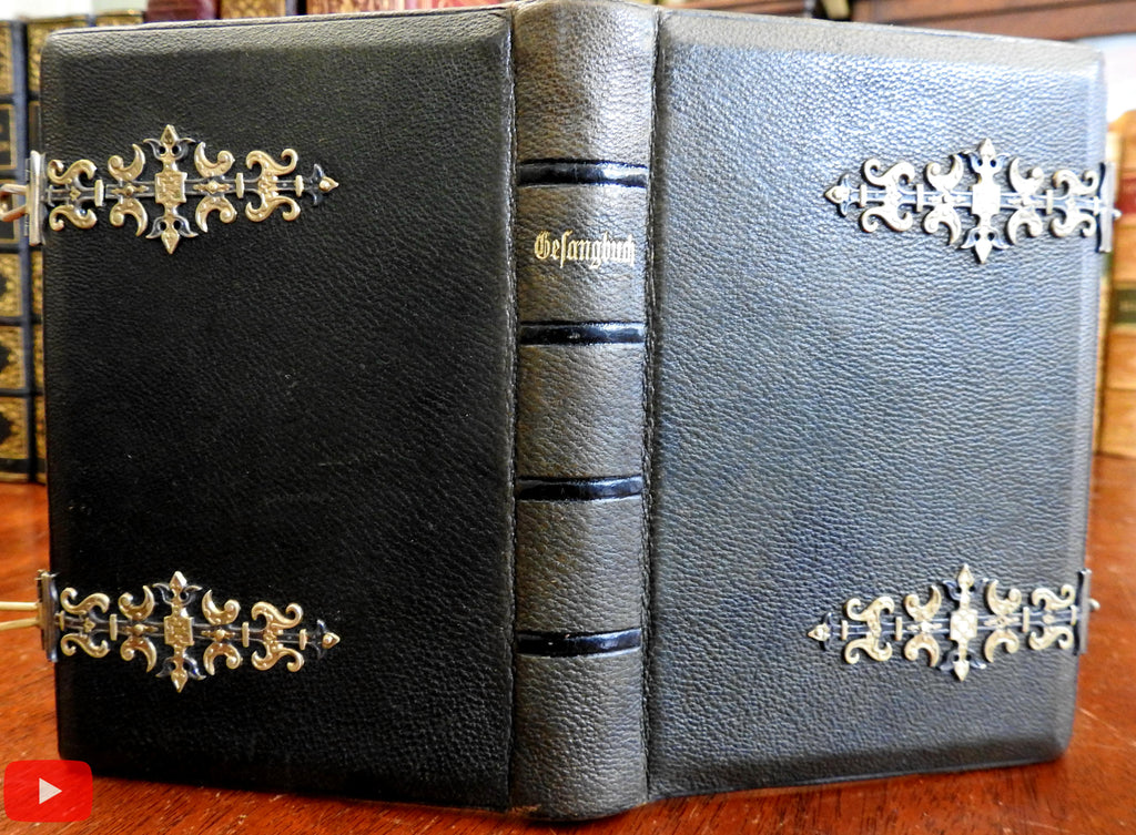 Swiss-German Gesangbuch 1892 Calvinism Religious song book metal clasps